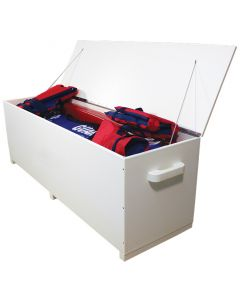 White 5 ft. Everondack Storage Box Without Wheels With Lid Open and Filled With Items