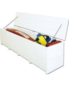 White 8 ft. Everondack Storage Box Without Wheels With Lid Open and Filled With Items