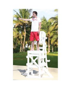 Lifeguard Standing on White TLG 650 Everondack® ProSeries™ Tall Lifeguard Chair with Side Step With Trees in Background