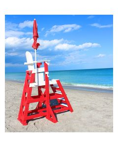 Lifeguard Red and White TLG 655 Everondack® ProSeries™ Tall Lifeguard Chair with Front Ladder With Red Umbrella on the Beach