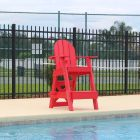 Front of the Everondack® Lifeguard Chair - LG 505 in Lifeguard Red By The Pool