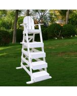 LG 517 - Everondack® Lifeguard Chair in White on Green Grass with Trees in Background