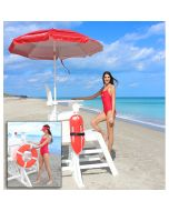 Lifeguard Climbing Steps of the White MLG 645 Everondack® ProSeries™ Medium Lifeguard Chair with Front Ladder at the Beach